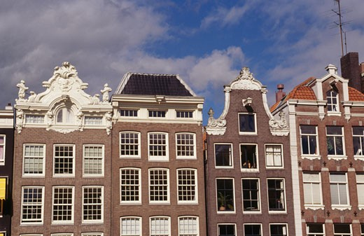 Stock Photo: 1344-105 Low angle view of townhouses, Prinsengracht, Amsterdam, Netherlands