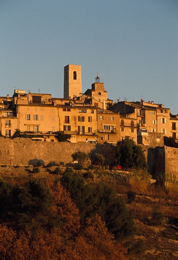 Stock Photo: 1344-1105A Buildings on a hill, St. Paul de Vence, France