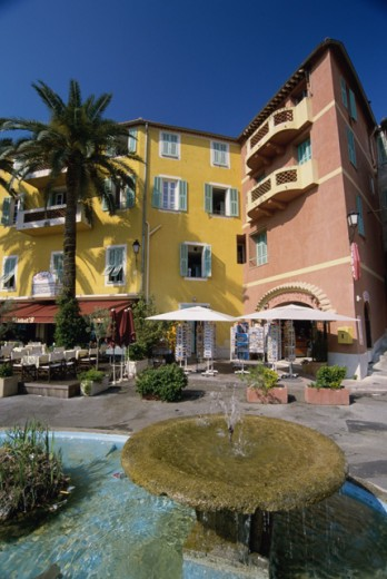 Stock Photo: 1344-1170A Fountain in a town square, Villefranche-sur-Mer, France