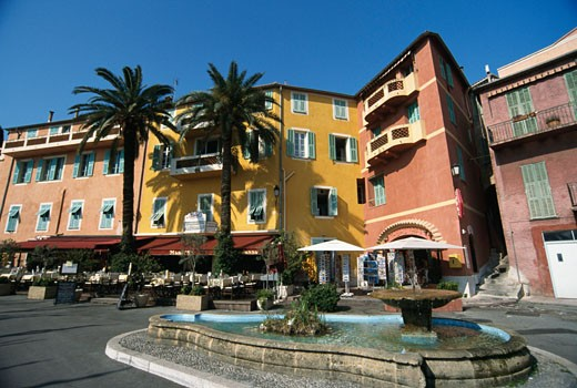 Stock Photo: 1344-1170B Fountain in a town square, Villefranche-sur-Mer, France