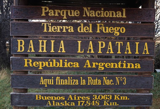 Close-up of a sign, Tierra del Fuego National Park, Tierra del Fuego, Argentina : Stock Photo