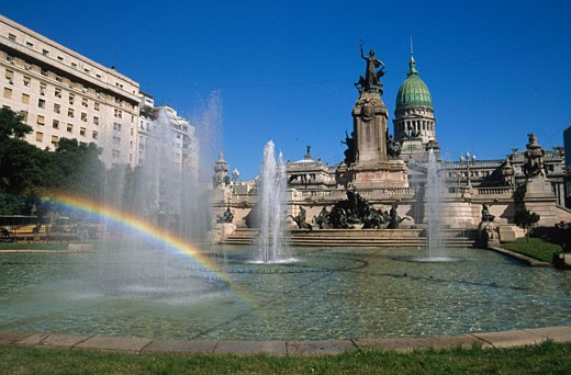 Fountain in front of a government building, National Congress, Buenos Aires, Argentina : Stock Photo