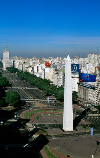 Aerial view of a city, Avenida 9 de Julio, Buenos Aires, Argentina : Stock Photo