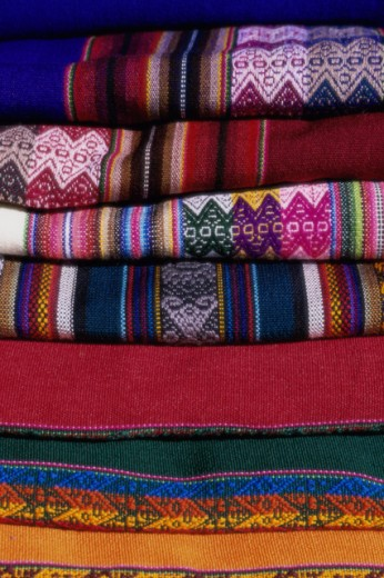 Close-up of a stack of blankets, Argentina : Stock Photo