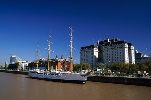 Sailing ship moored in a harbor, Buenos Aires, Argentina : Stock Photo
