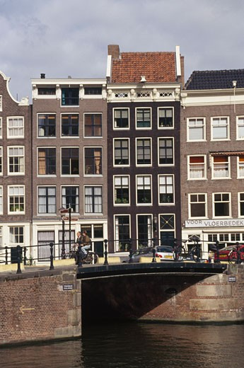 Bridge across a canal, Prinsengracht, Amsterdam, Netherlands : Stock Photo
