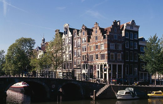 Stock Photo: 1344-140 Bridge across a canal, Amsterdam, Netherlands