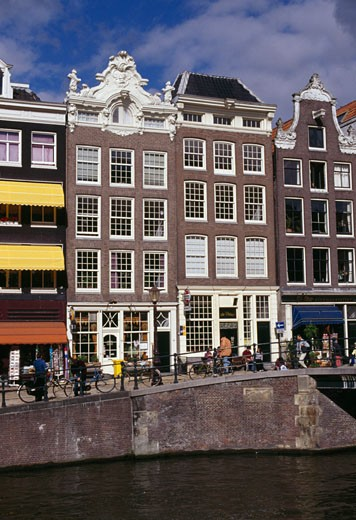Townhouses on the waterfront, Prinsengracht, Amsterdam, Netherlands : Stock Photo
