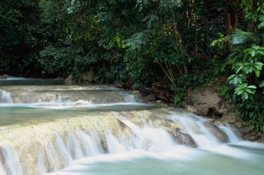 Water flowing through rocks, Dunn's River Falls, Ocho Rios, Jamaica : Stock Photo