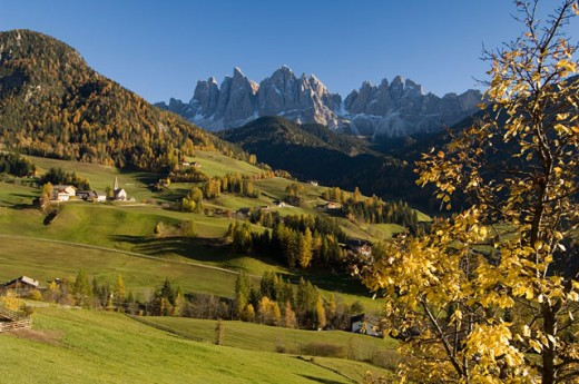 Buildings on a landscape, Santa Maddalena, Val di Funes, Dolomites, Trentino-Alto Adige, Italy : Stock Photo