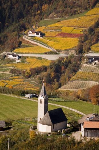 Stock Photo: 1344-1467 High angle view of a church on a landscape, Santa Maddalena, Val di Funes, Dolomites, Trentino-Alto Adige, Italy
