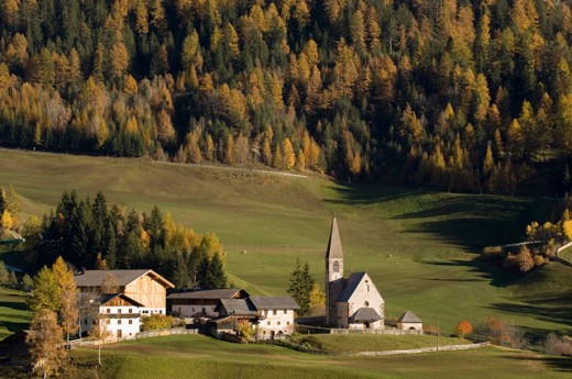 Stock Photo: 1344-1481A High angle view of buildings on a landscape, Santa Maddalena, Val di Funes, Dolomites, Trentino-Alto Adige, Italy