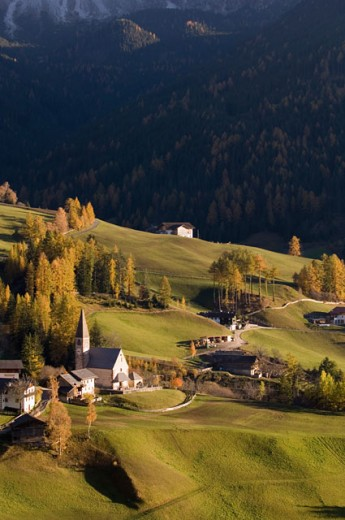 High angle view of buildings on a landscape, Santa Maddalena, Val di Funes, Dolomites, Trentino-Alto Adige, Italy : Stock Photo