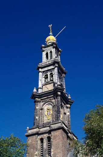 Stock Photo: 1344-149 Low angle view of a clock tower, Westerkerk, Amsterdam, Netherlands