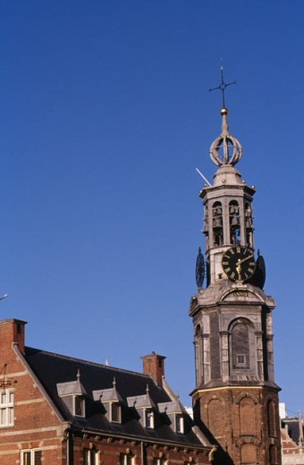 Low angle view of a clock tower, Westerkerk, Amsterdam, Netherlands : Stock Photo
