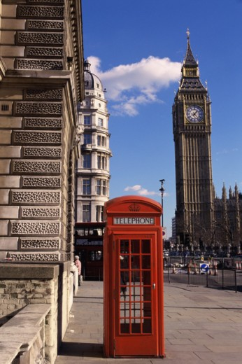 Stock Photo: 1344-194 Low angle view of a clock tower, Big Ben, Houses of Parliament, London, England