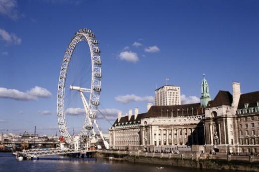 Ferris wheel on the waterfront, London Eye, London, England : Stock Photo