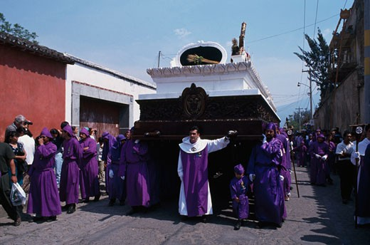 Stock Photo: 1344-224 Group of people celebrating a traditional festival, Holy Week, Antigua, Guatemala