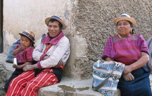 Stock Photo: 1344-258 Portrait of a father sitting with his daughter, Todos Santos Cuchumatan, Guatemala