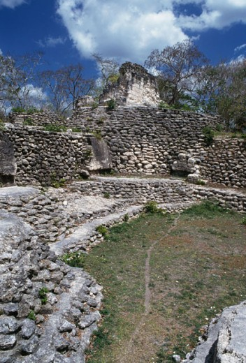 Old ruins of a building, Uaxactun (Mayan), Guatemala : Stock Photo