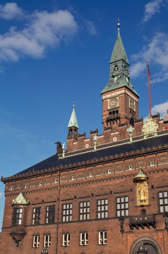 Low angle view of a government building, Town Hall, Copenhagen, Denmark : Stock Photo