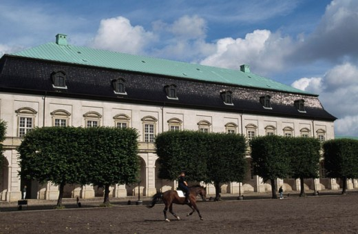 Person riding a horse near a palace, Christiansborg Palace, Copenhagen, Denmark : Stock Photo