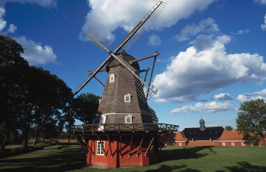 Traditional windmill in a citadel, Copenhagen, Denmark : Stock Photo