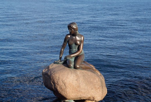 High angle view of a statue, Little Mermaid, Copenhagen, Denmark : Stock Photo