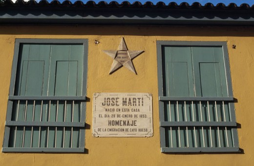 Low angle view of two windows of a building, Jose Marti's Birthplace, Havana, Cuba : Stock Photo