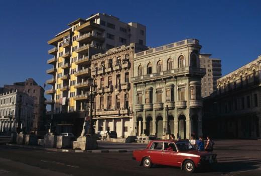 Stock Photo: 1344-379 Car in front of a building, Paseo de Marti, Havana, Cuba