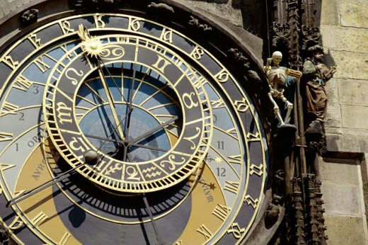 Stock Photo: 1344-435 Close-up of the Astronomical Clock, Old Town Hall, Prague, Czech Republic