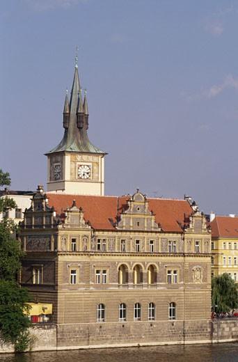 High angle view of a museum on the waterfront, Bedrich Smetana Museum, Prague, Czech Republic : Stock Photo