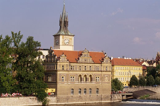High angle view of a museum on the waterfront, Bedrich Smetana Museum, Prague, Czech Republic : Stock Photo