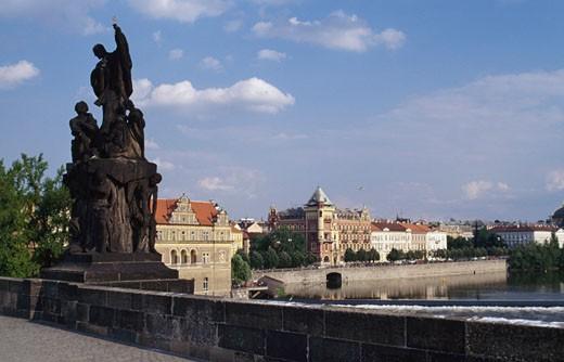 Stock Photo: 1344-453 Statues on a bridge, Charles Bridge, Prague, Czech Republic