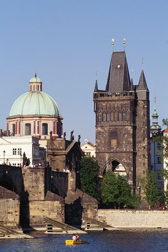 Stock Photo: 1344-457 Tower on the waterfront, Old Town Bridge Tower, Charles Bridge, Prague, Czech Republic