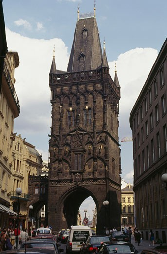 Low angle view of a tower, Powder Tower, Prague, Czech Republic : Stock Photo