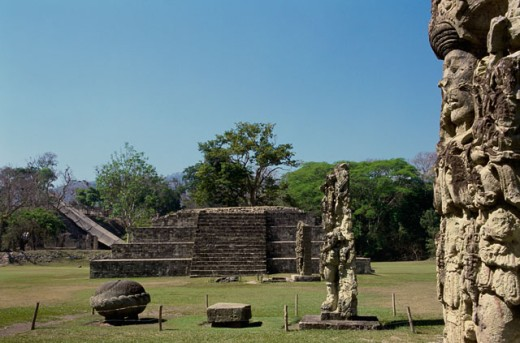 Stock Photo: 1344-495 Sculptures in a park, Copan (Mayan), Honduras