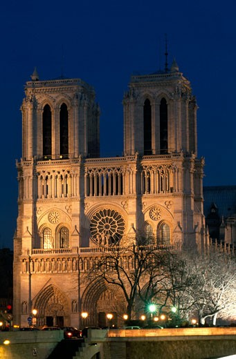 Stock Photo: 1344-633 Low angle view of a cathedral lit up at night, Notre Dame, Paris, France