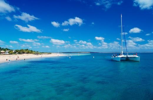 Sailboat in the sea, Monkey Mia, Shark Bay World Heritage Area, Western Australia, Australia : Stock Photo