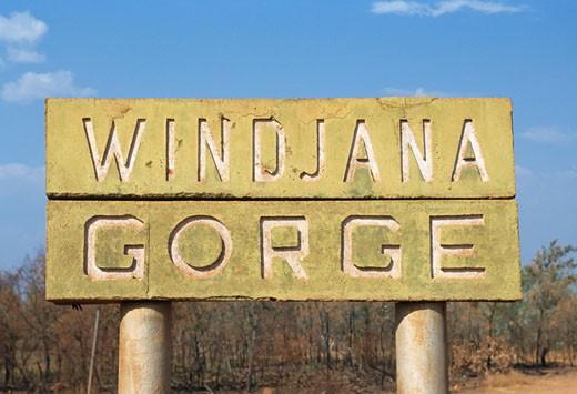 Close-up of a sign, Windjana Gorge National Park, Western Australia, Australia : Stock Photo