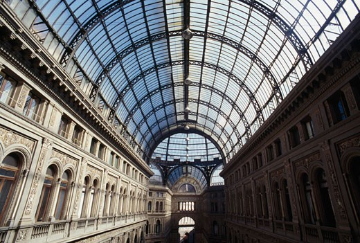 Interior of a shopping mall, Galleria Umberto, Naples, Italy : Stock Photo