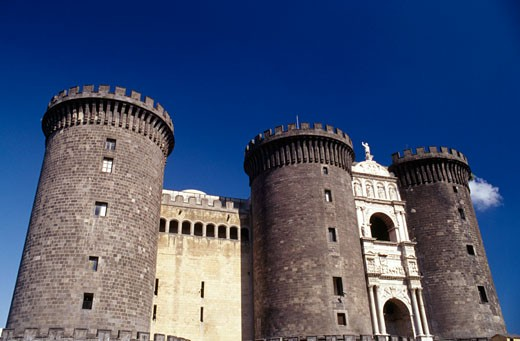 Low angle view of a castle, Castel Nuovo, Naples, Italy : Stock Photo