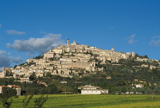 Town on a hillside, Trevi, Italy : Stock Photo
