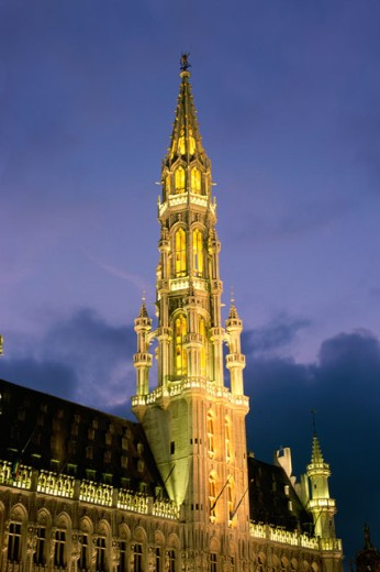 Tower of a building, Town Hall, Grand Place, Brussels, Belgium : Stock Photo