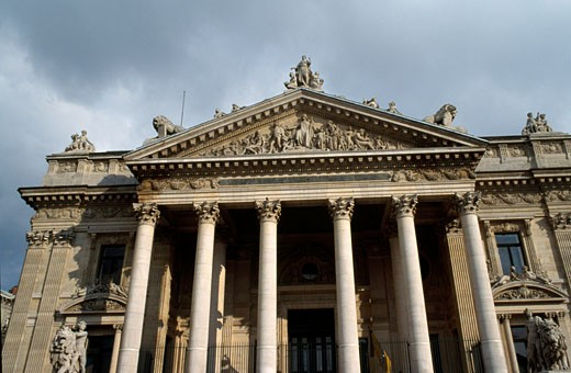 Low angle view of a financial building, Stock Exchange, Brussels, Belgium : Stock Photo