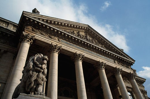 Stock Photo: 1344-814 Low angle view of a financial building, Stock Exchange, Brussels, Belgium