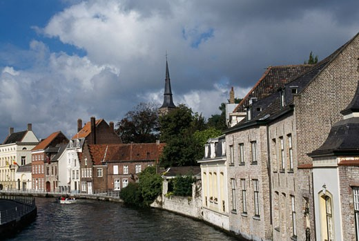 Stock Photo: 1344-834 Buildings on the waterfront, Dijver Canal, Brugge, Belgium