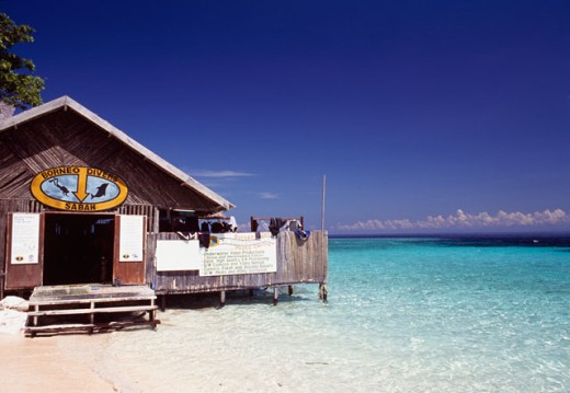 Hut on the beach, Borneo Divers Resort, Sipadan Island, Malaysia : Stock Photo
