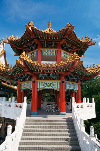 Low angle view of a temple, Thean Hou Temple, Kuala Lumpur, Malaysia : Stock Photo
