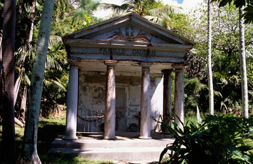 Stock Photo: 1345-1005 Facade of a mausoleum, Dauban Mausoleum, Silhouette Island, Seychelles